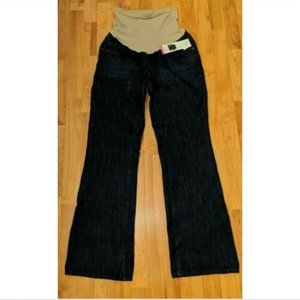Blue Dark Wash Over The Belly Panel Bootcut Jeans
